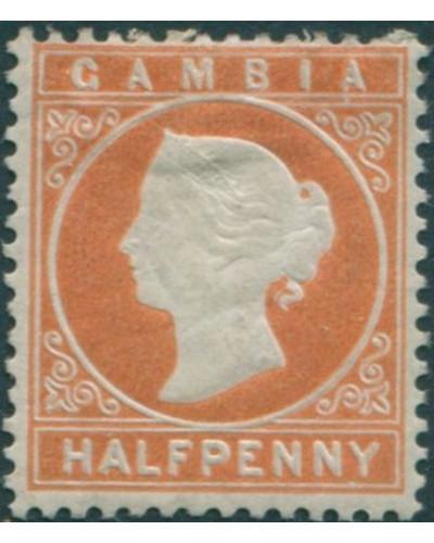Gambia 1886 SG11B ½d orange QV MH