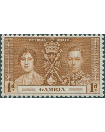 Gambia 1937 SG147 1d brown Coronation MH