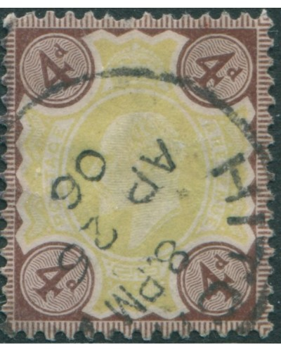 Great Britain 1902 SG236 4d green and chocolate-brown KEVII FU