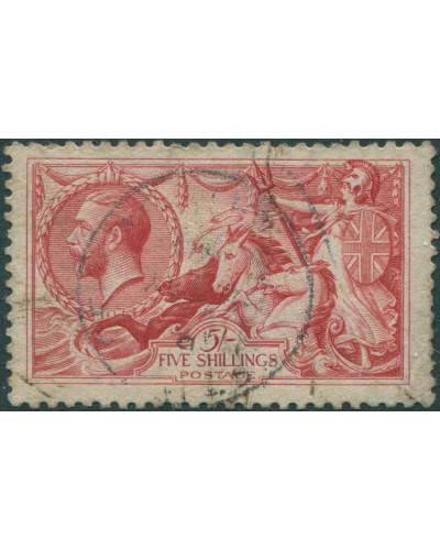 Great Britain 1913 SG401 5/- rose-carmine KGV Sea Horses FU