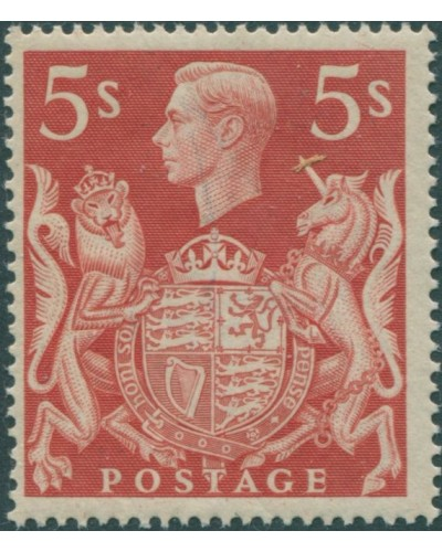 Great Britain 1939 SG477 5/- red KGVI Arms MNH