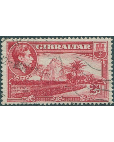 Gibraltar 1938 SG124c 2d red The Rock KGVI FU
