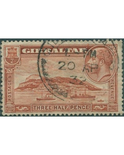Gibraltar 1931 SG111a KGV 1½d brown Rock of Gibraltar p13½ FU