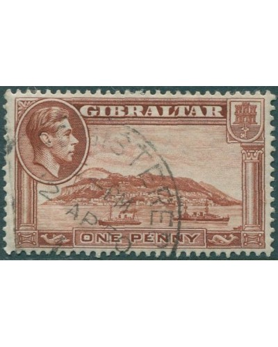 Gibraltar 1938 SG122d KGVI 1d brown Rock of Gibraltar P13 FU