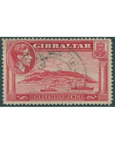 Gibraltar 1938 SG123a KGVI 1½d carmine Rock of Gibraltar p13½ FU