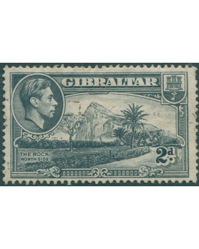 Gibraltar 1938 SG124a KGVI 2d grey The Rock (North Side) p13½ FU