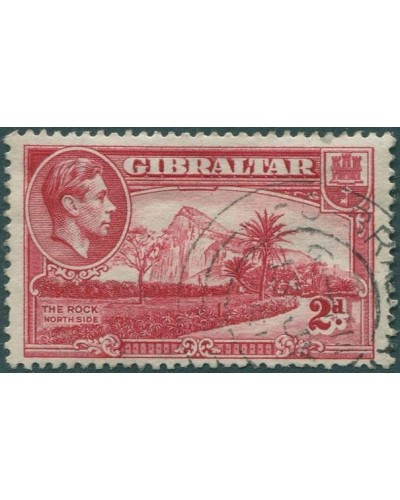 Gibraltar 1938 SG124c KGVI 2d carmine The Rock (North Side) p13 FU
