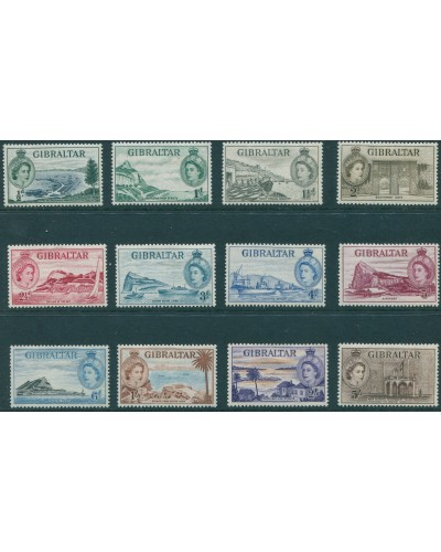 Gibraltar 1953 SG145-156 QEII scenes set of 12 to 5/- MLH