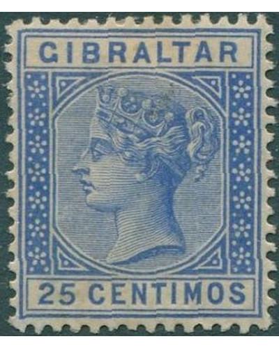 Gibraltar 1889 SG26 QV 25c ultramarine MH