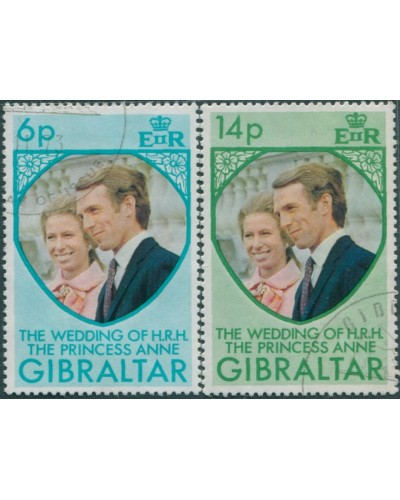 Gibraltar 1973 SG323-324 Princess Anne Wedding FU