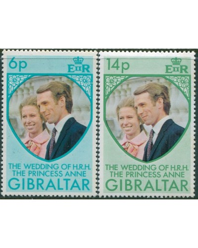 Gibraltar 1973 SG323-324 Princess Anne Wedding  MNH