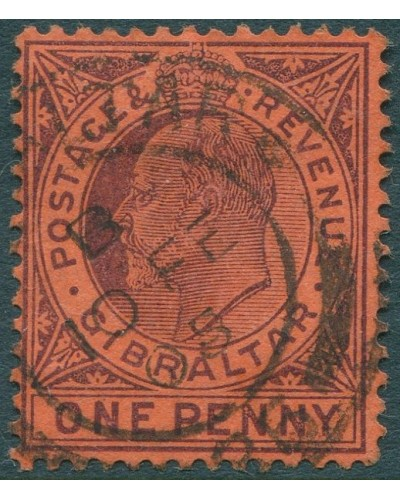 Gibraltar 1903 SG57c 1d purple on red KEVII FU