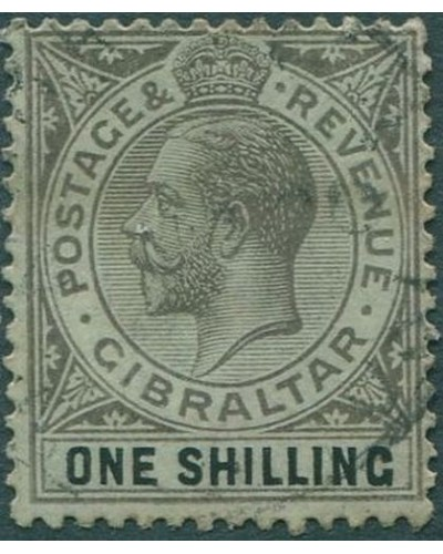 Gibraltar 1912 SG81 KGV 1/- black on green FU