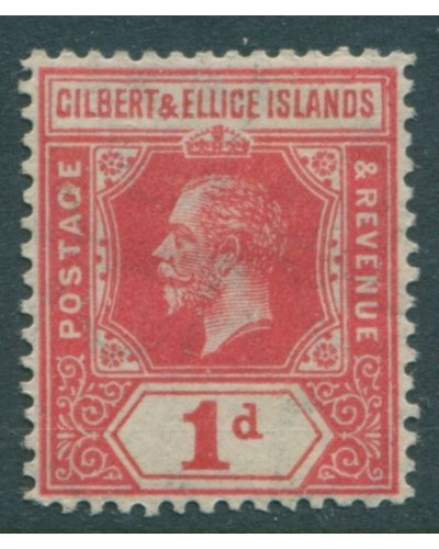 Gilbert & Ellice Islands 1912 SG13 1d carmine KGV MLH