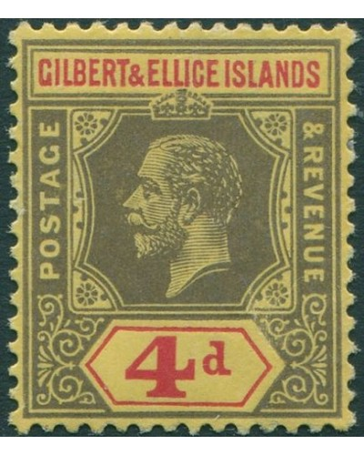 Gilbert & Ellice Islands 1912 SG17 4d black and red/yellow KGV MLH