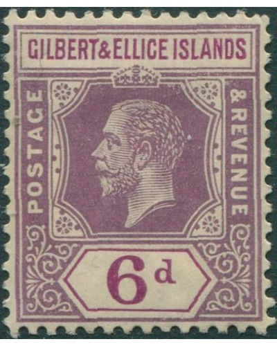 Gilbert & Ellice Islands 1912 SG19 6d dull and bright purple KGV MH