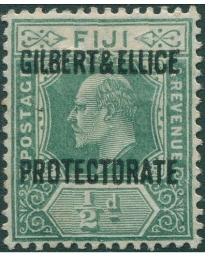 Gilbert Ellice Islands 1911 SG1 ½d green KEVII with PROTECTORATE ovpt MH