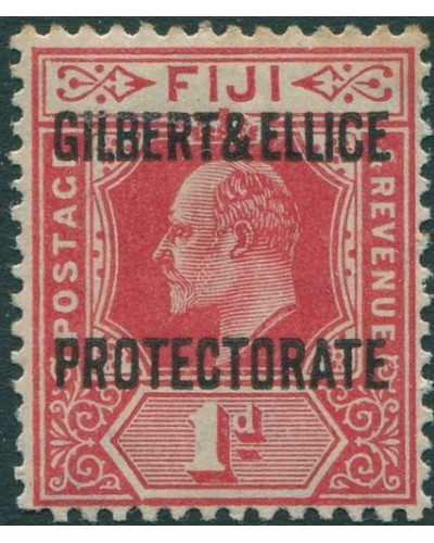 Gilbert Ellice Islands 1911 SG2 1d red KEVII with PROTECTORATE ovpt toned MH