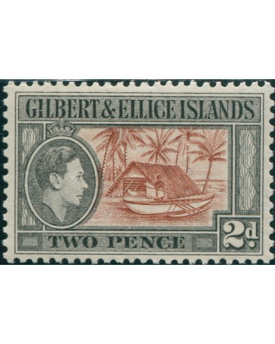 Gilbert & Ellice Islands 1939 SG46 2d Canoe and Boat-house KGVI MLH