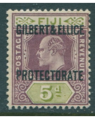 Gilbert Ellice Islands 1911 SG5 5d purple and olive-green PROTECTORATE KEVII MH
