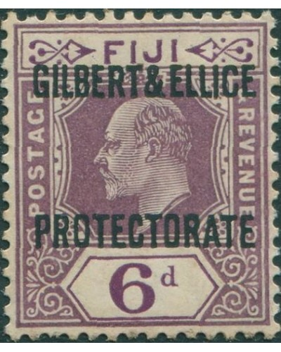 Gilbert & Ellice Islands 1911 SG6 6d purple KEVII with PROTECTORATE ovpt MH