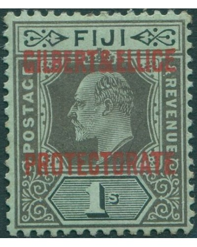 Gilbert Ellice Islands 1911 SG7 1s black/green KEVII with PROTECTORATE ovpt MH