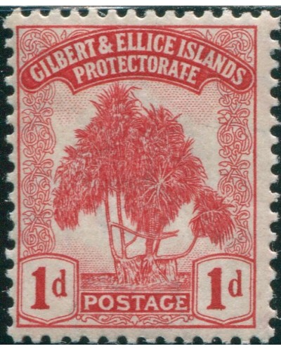 Gilbert & Ellice Islands 1911 SG9 1d red Pandanus Pine MLH