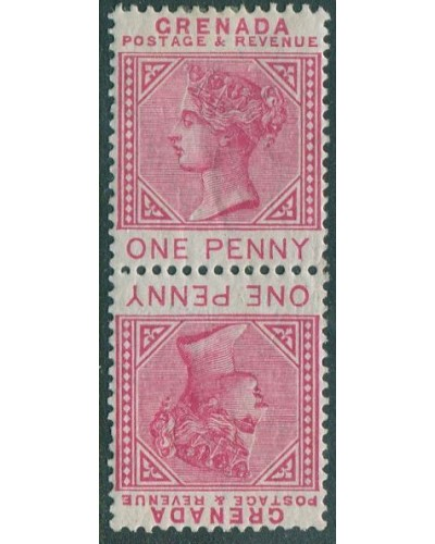 Grenada 1883 SG40a 1d red QV tetebeche pair MLH