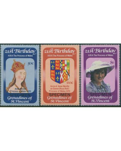 Grenadines of St Vincent 1982 SG229-231 21st Birthday Princess Diana SPECIMEN set MNH
