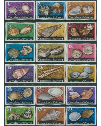 Grenadines of St Vincent 1974 SG35A-52A Shells MNH