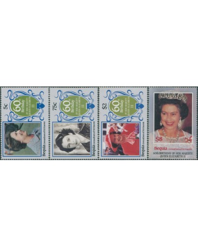 Grenadines of St Vincent 1986 SG459-462 QEII 60th Birthday bequia set MNH