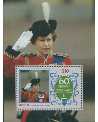 Grenadines of St Vincent 1986 SG463 QEII 60th Birthday MS bequia MNH