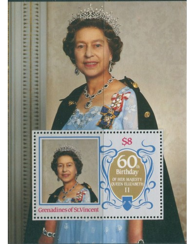 Grenadines of St Vincent 1986 SG463 QEII 60th Birthday MS MNH