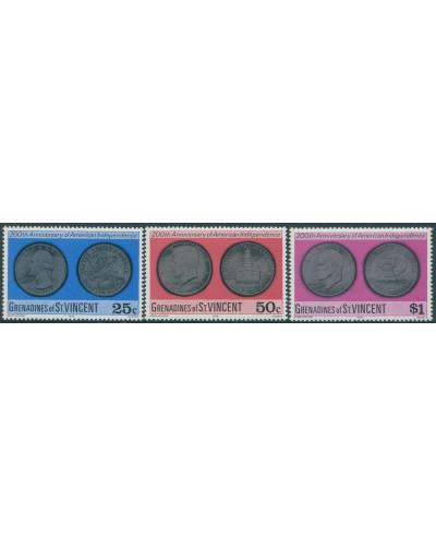 Grenadines of St Vincent 1976 SG82-84 American Revolution Coins set MNH