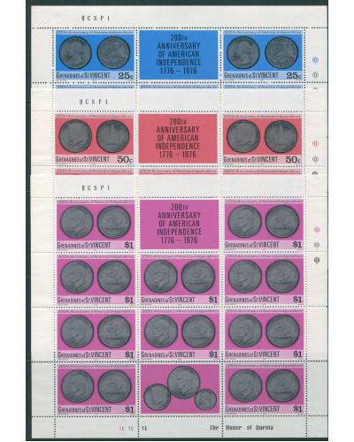 Grenadines of St Vincent 1976 SG82-84 American Revolution Coins sheets set MNH