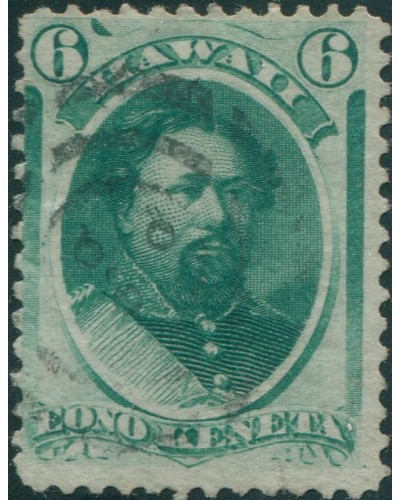Hawaii 1864 SG30 6c green King Kamehame V FU