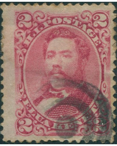 Hawaii 1875 SG40b 2c red King Kalakaua toned FU