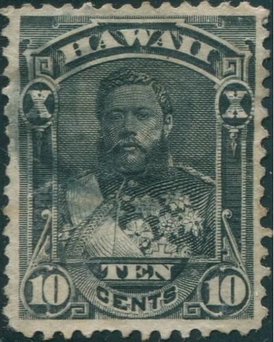 Hawaii 1875 SG44 10c black King Kalakaua in uniform short perf FU