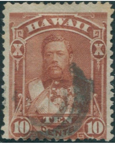 Hawaii 1875 SG46 10c brown King Kalakaua in uniform FU
