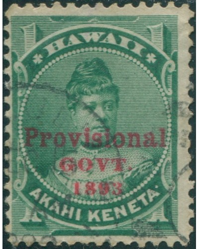 Hawaii 1893 SG56 1c green Princess Likelike ovpt FU