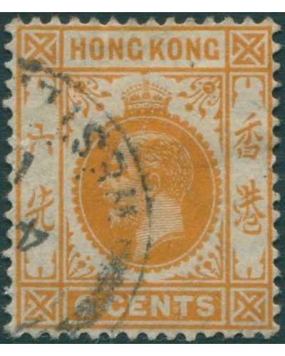 Hong Kong 1912 SG103 6c yellow-orange KGV FU