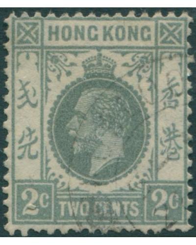 Hong Kong 1921 SG118c 2c grey KGV FU