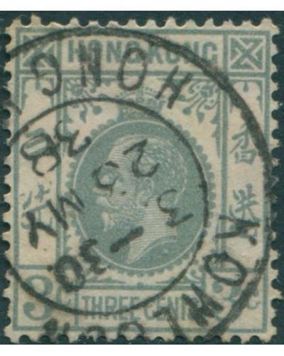Hong Kong 1921 SG119 3c grey KGV 2 FU