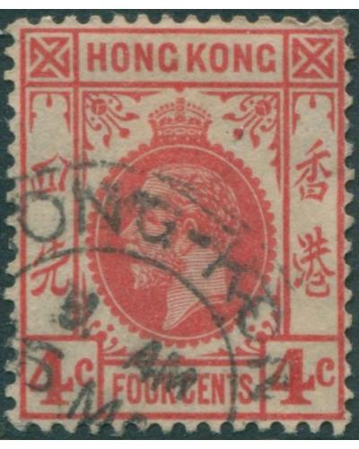 Hong Kong 1921 SG120 4c carmine-rose KGV FU
