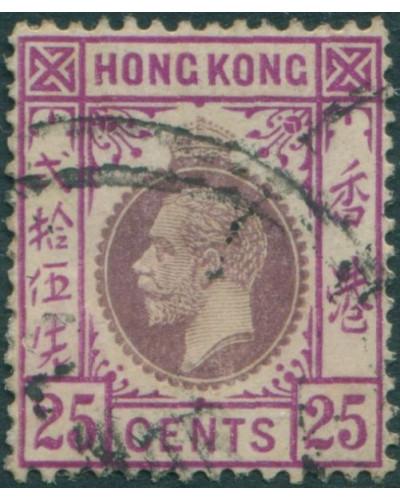 Hong Kong 1921 SG126 25c purple and magenta KGV FU