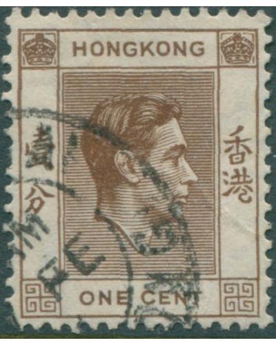 Hong Kong 1938 SG140 1c brown KGVI FU