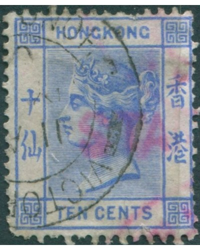 Hong Kong 1880 SG59 10c blue QV with red cancel FU
