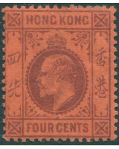 Hong Kong 1904 SG78a 4c purple on red KEVII MH