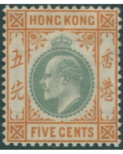 Hong Kong 1903 SG65 5c dull green and brown-orange KEVII MLH