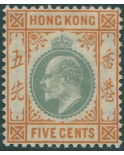Hong Kong 1903 SG65 5c dull green and brown-orange KEVII MLH
